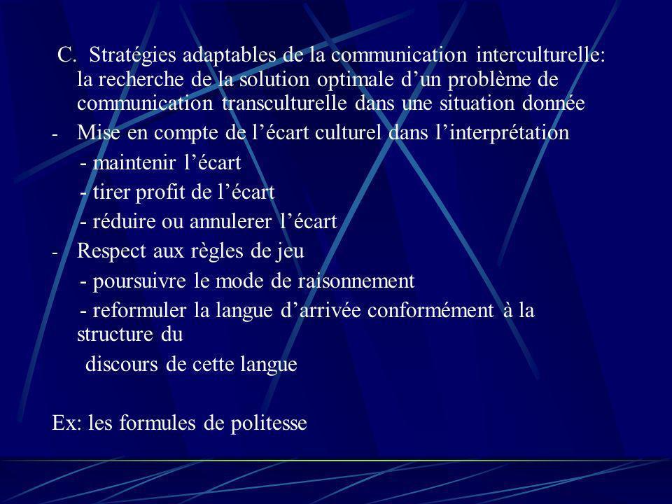 C. Stratégies adaptables de la communication interculturelle: la recherche de la solution optimale dun problème de communication transculturelle dans