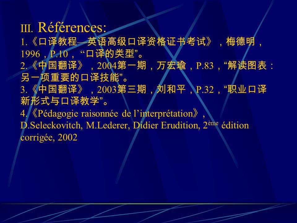 III. Références: 1. 1996 P.10 2. 2004 P.83 3. 2003 P.32 4. Pédagogie raisonnée de linterprétation, D.Seleckovitch, M.Lederer, Didier Erudition, 2 ème
