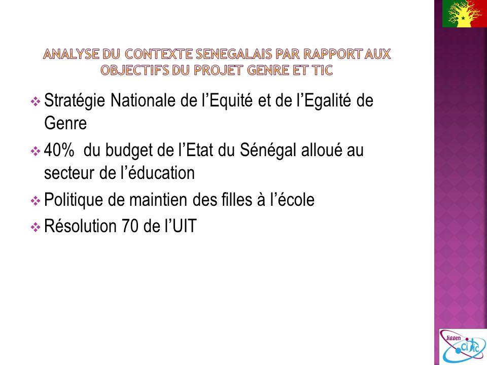 Stratégie Nationale de lEquité et de lEgalité de Genre 40% du budget de lEtat du Sénégal alloué au secteur de léducation Politique de maintien des filles à lécole Résolution 70 de lUIT