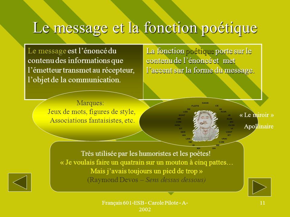 Français 601-ESB - Carole Pilote - A- 2002 11 Le message et la fonction poétique Le message est lénoncé du contenu des informations que lémetteur tran