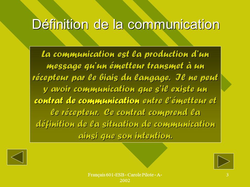 Français 601-ESB - Carole Pilote - A- 2002 3 Définition de la communication La communication est la production dun message quun émetteur transmet à un