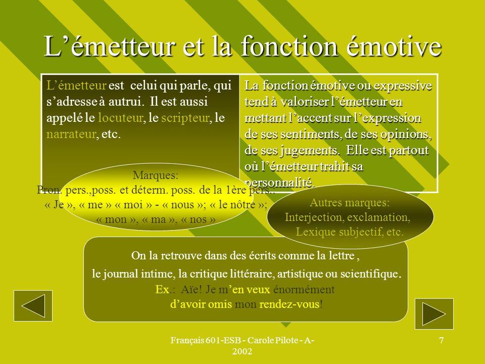 Français 601-ESB - Carole Pilote - A- 2002 7 Lémetteur et la fonction émotive Lémetteur est celui qui parle, qui sadresse à autrui. Il est aussi appel