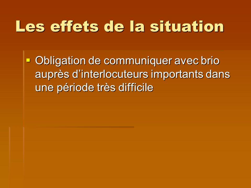 Les effets de la situation Obligation de communiquer avec brio auprès dinterlocuteurs importants dans une période très difficile Obligation de communiquer avec brio auprès dinterlocuteurs importants dans une période très difficile
