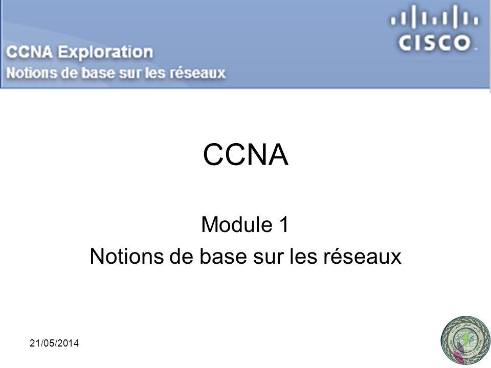 1 CCNA Module 1 Notions de base sur les réseaux 21/05/2014