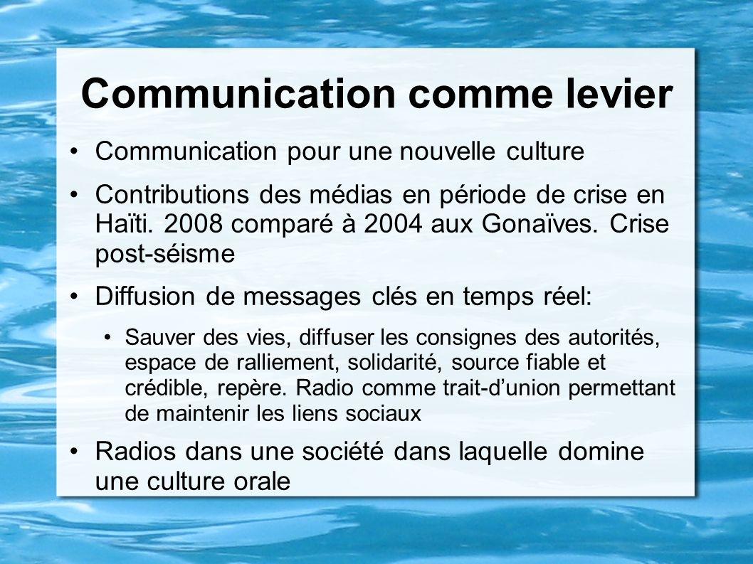 Communication comme levier Communication pour une nouvelle culture Contributions des médias en période de crise en Haïti. 2008 comparé à 2004 aux Gona
