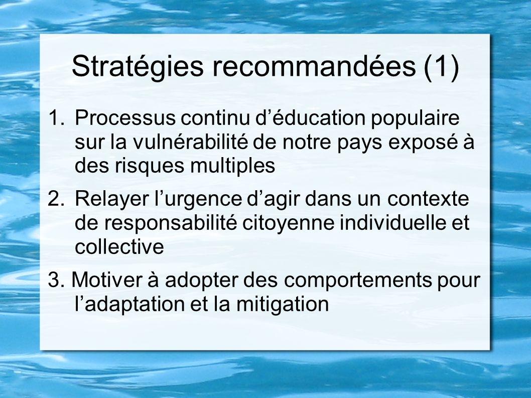 Stratégies recommandées (1) 1.Processus continu déducation populaire sur la vulnérabilité de notre pays exposé à des risques multiples 2.Relayer lurge