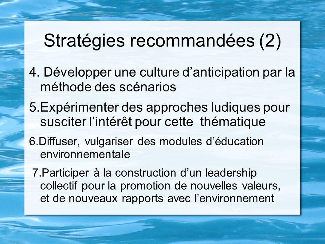 Stratégies recommandées (2) 4. Développer une culture danticipation par la méthode des scénarios 5.Expérimenter des approches ludiques pour susciter l