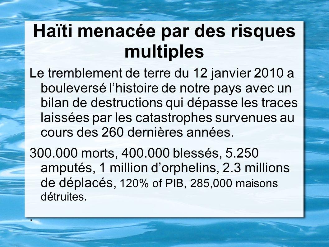 Haïti menacée par des risques multiples Le tremblement de terre du 12 janvier 2010 a bouleversé lhistoire de notre pays avec un bilan de destructions