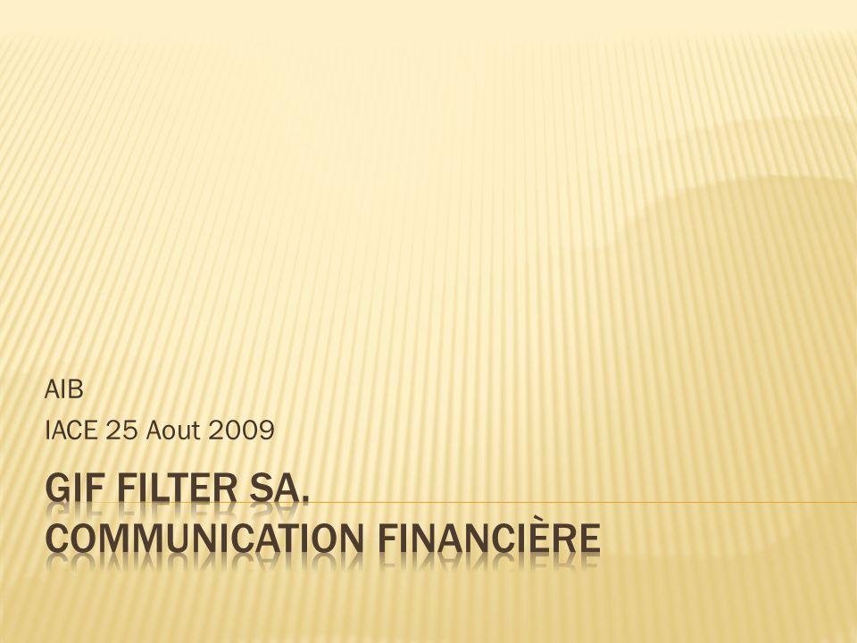 Dans le cadre de son programme de développement à linternational et avec comme première étape son implantation industrielle en Algérie, le conseil dadministration de la société GIF FILTER SA a proposé à ses actionnaires pour lAssemblée Générale Extraordinaire du 20 Août 2009 une augmentation de capital réservée au profit dun nouvel actionnaire Maghreb Private equity Fund II (MPEFII)