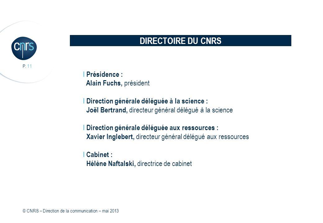DIRECTOIRE DU CNRS I Présidence : Alain Fuchs, président I Direction générale déléguée à la science : Joël Bertrand, directeur général délégué à la sc