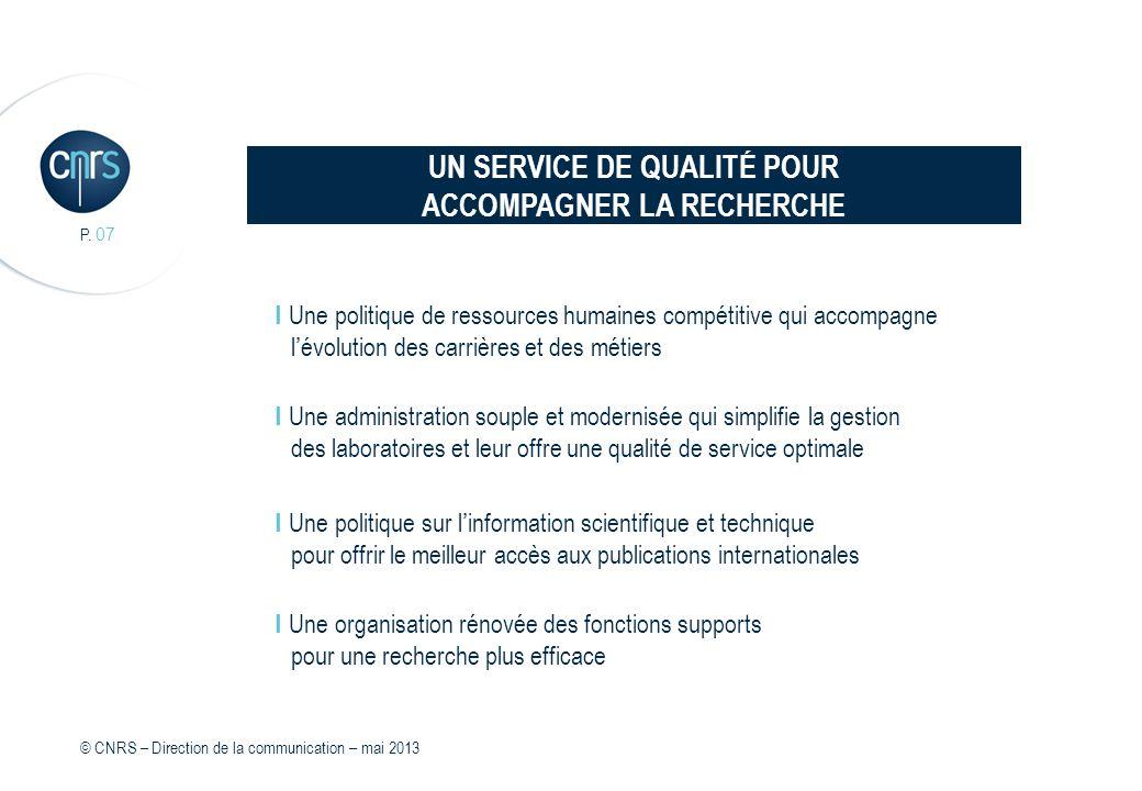 P. 07 I Une politique de ressources humaines compétitive qui accompagne lévolution des carrières et des métiers I Une administration souple et moderni