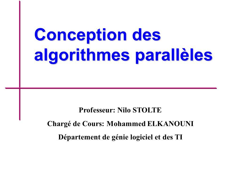 Conception des algorithmes parallèles Professeur: Nilo STOLTE Chargé de Cours: Mohammed ELKANOUNI Département de génie logiciel et des TI