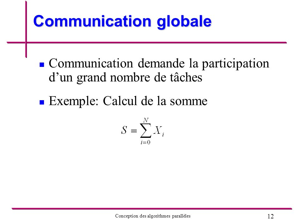 12 Conception des algorithmes parallèles Communication globale Communication demande la participation dun grand nombre de tâches Exemple: Calcul de la