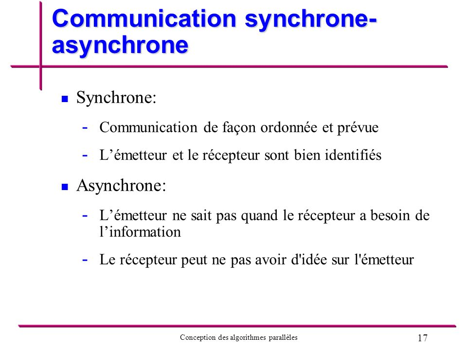17 Conception des algorithmes parallèles Communication synchrone- asynchrone Synchrone: - - Communication de façon ordonnée et prévue - - Lémetteur et