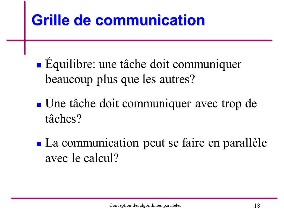 18 Conception des algorithmes parallèles Grille de communication Équilibre: une tâche doit communiquer beaucoup plus que les autres? Une tâche doit co