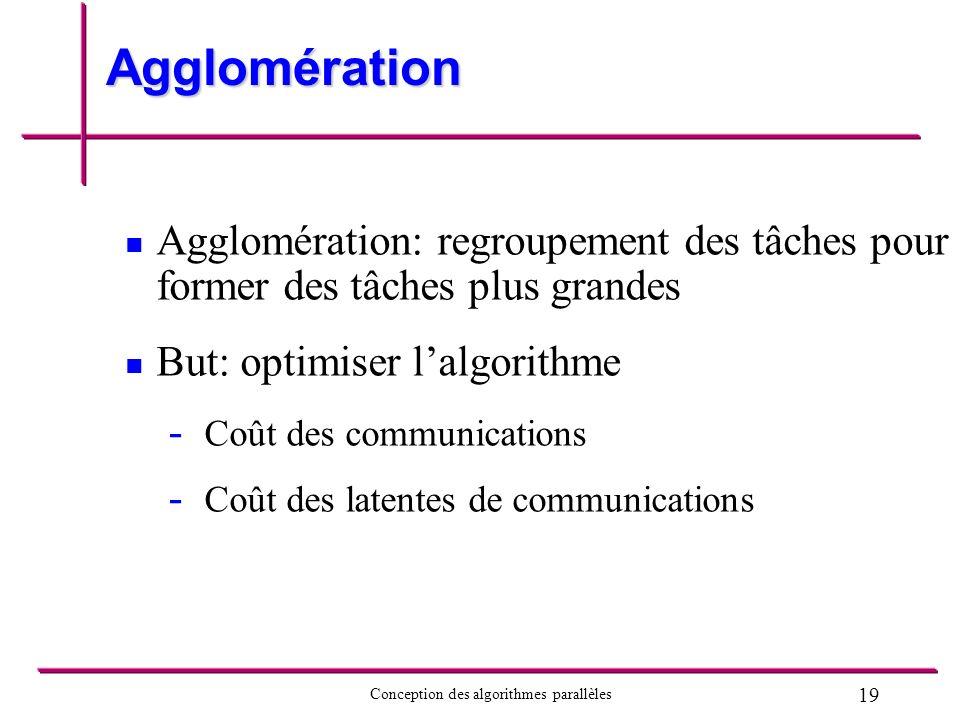 19 Conception des algorithmes parallèles Agglomération Agglomération: regroupement des tâches pour former des tâches plus grandes But: optimiser lalgo