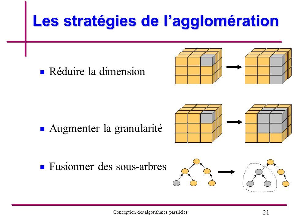 21 Conception des algorithmes parallèles Les stratégies de lagglomération Réduire la dimension Augmenter la granularité Fusionner des sous-arbres