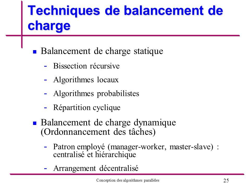 25 Conception des algorithmes parallèles Techniques de balancement de charge Balancement de charge statique - - Bissection récursive - - Algorithmes l