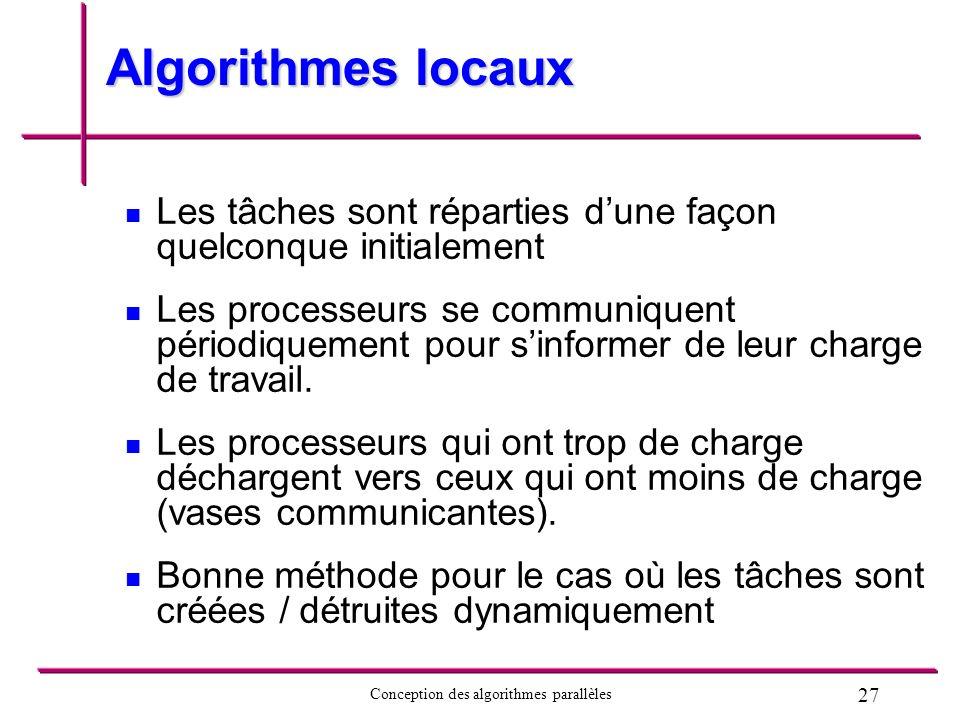 27 Conception des algorithmes parallèles Algorithmes locaux Les tâches sont réparties dune façon quelconque initialement Les processeurs se communique