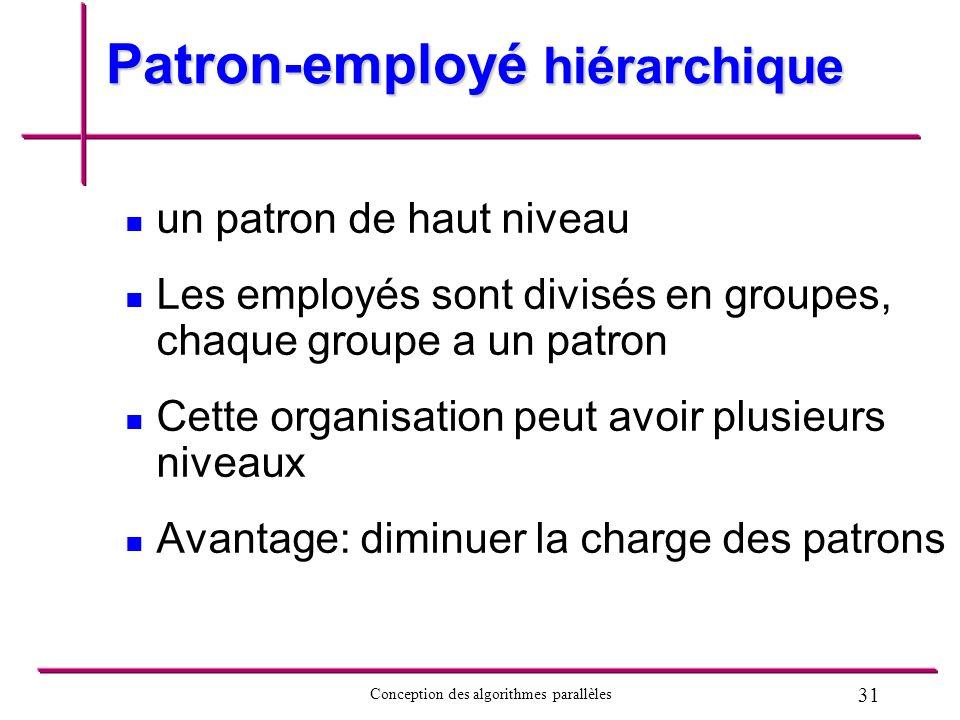 31 Conception des algorithmes parallèles Patron-employé hiérarchique un patron de haut niveau Les employés sont divisés en groupes, chaque groupe a un