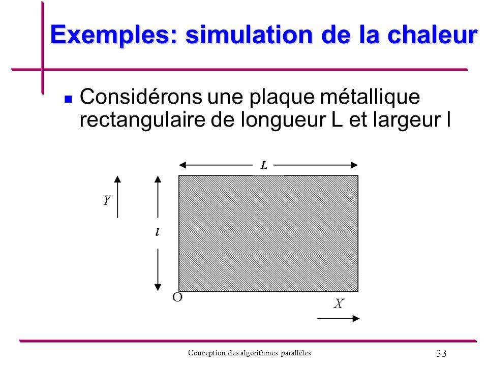 33 Conception des algorithmes parallèles Exemples: simulation de la chaleur Considérons une plaque métallique rectangulaire de longueur L et largeur l