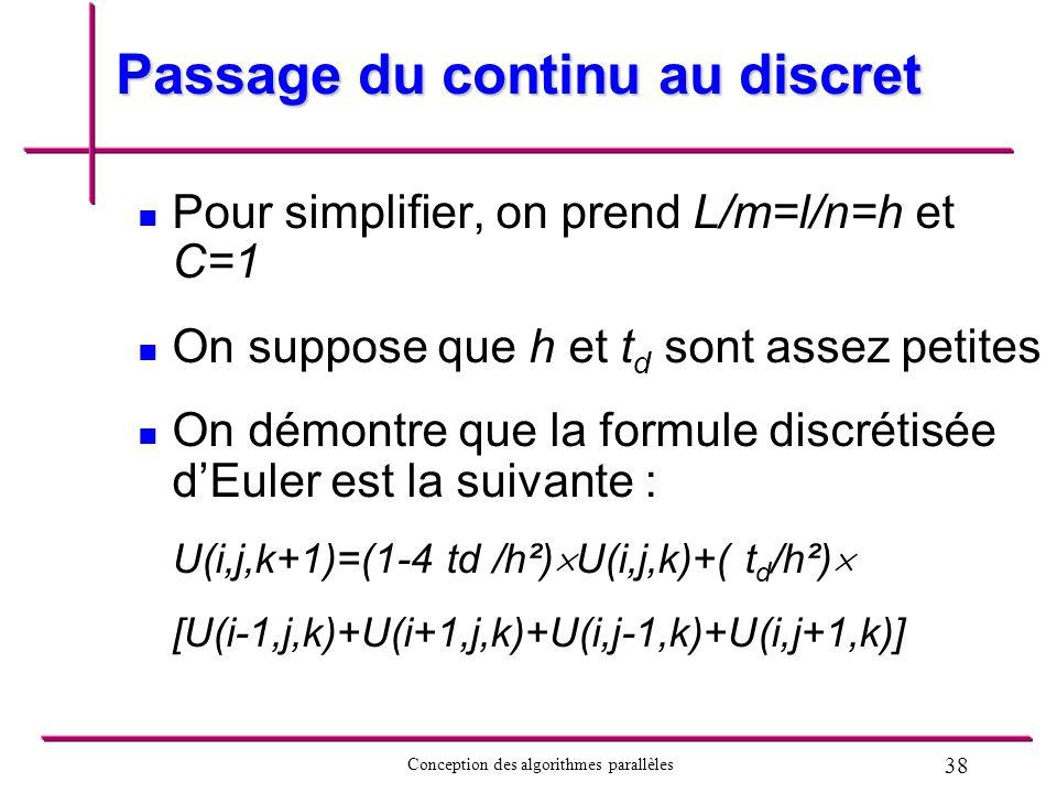 38 Conception des algorithmes parallèles Passage du continu au discret Pour simplifier, on prend L/m=l/n=h et C=1 On suppose que h et t d sont assez p