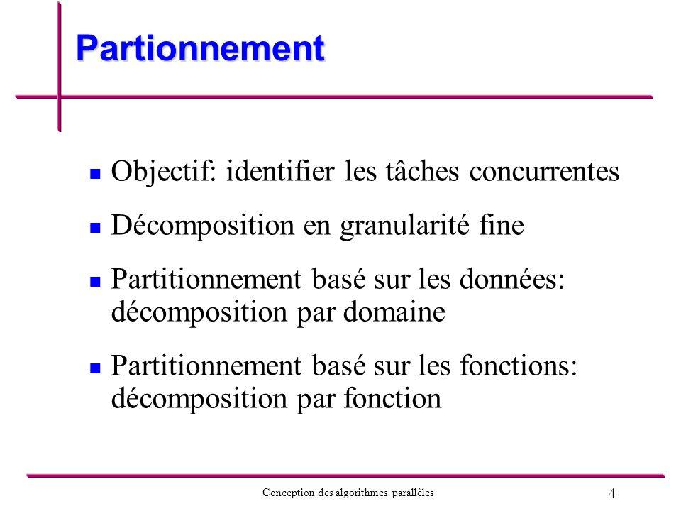 5 Conception des algorithmes parallèles Décomposition par domaine Utilisée lorsque les mêmes traitements sont appliqués sur différentes données Décomposer les données en région de façon â minimiser le transfert de données entre les tâches
