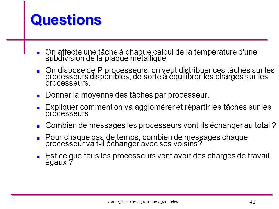 41 Conception des algorithmes parallèles Questions On affecte une tâche à chaque calcul de la température d'une subdivision de la plaque métallique On