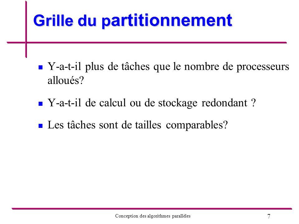 7 Conception des algorithmes parallèles Grille du p artitionnement Y-a-t-il plus de tâches que le nombre de processeurs alloués? Y-a-t-il de calcul ou