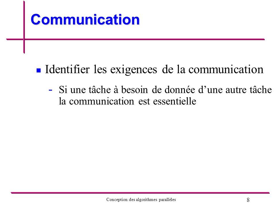 19 Conception des algorithmes parallèles Agglomération Agglomération: regroupement des tâches pour former des tâches plus grandes But: optimiser lalgorithme - - Coût des communications - - Coût des latentes de communications