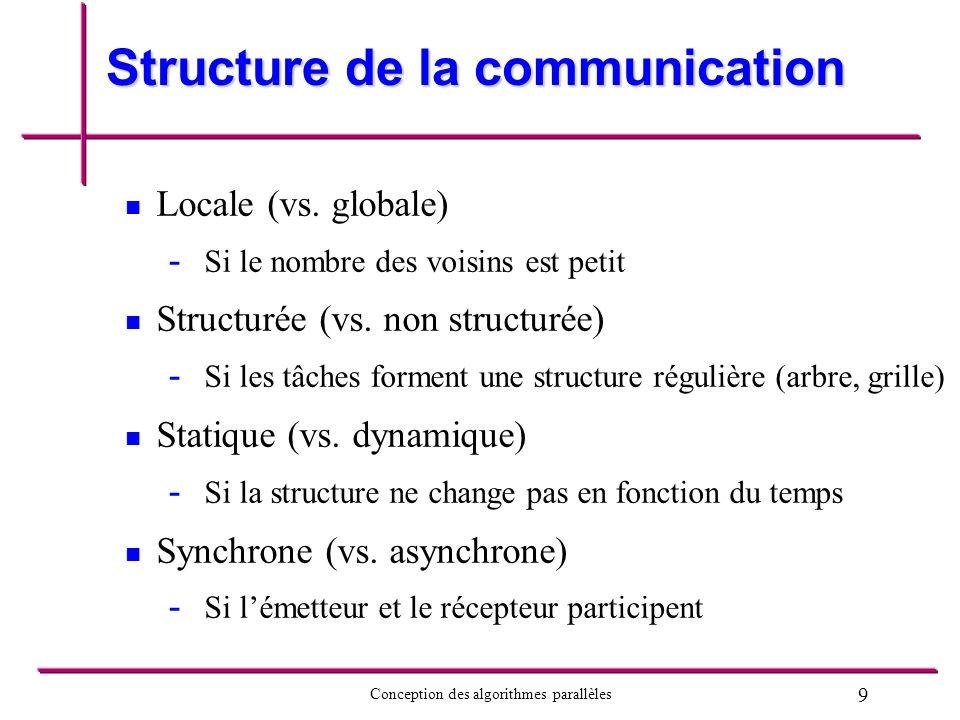 9 Conception des algorithmes parallèles Structure de la communication Locale (vs. globale) - - Si le nombre des voisins est petit Structurée (vs. non