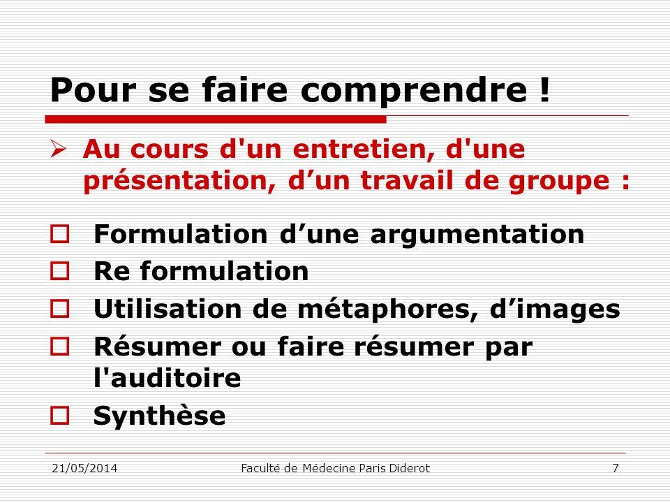 Pour se faire comprendre ! Au cours d'un entretien, d'une présentation, dun travail de groupe : Formulation dune argumentation Re formulation Utilisat