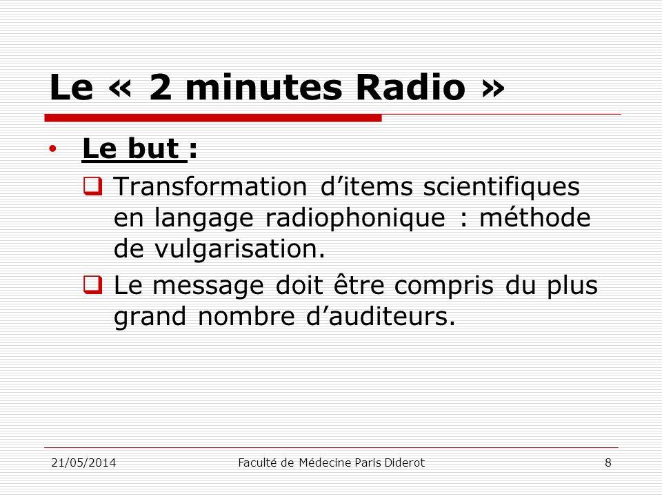 Le « 2 minutes Radio » Le but : Transformation ditems scientifiques en langage radiophonique : méthode de vulgarisation. Le message doit être compris