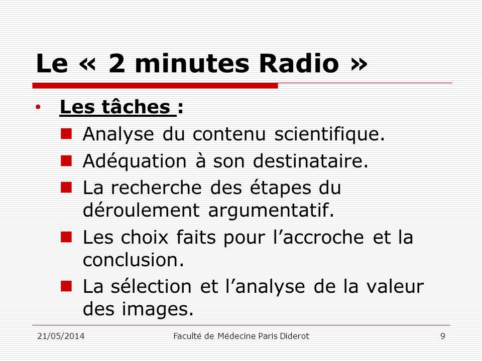 Le « 2 minutes Radio » Accroche : Interpellation du destinataire Déroulé argumentatif : Pas plus de trois à quatre points Transition entre les points Questionnement du destinataire Forme de relance de lattention Conclusion : 21/05/2014Faculté de Médecine Paris Diderot10