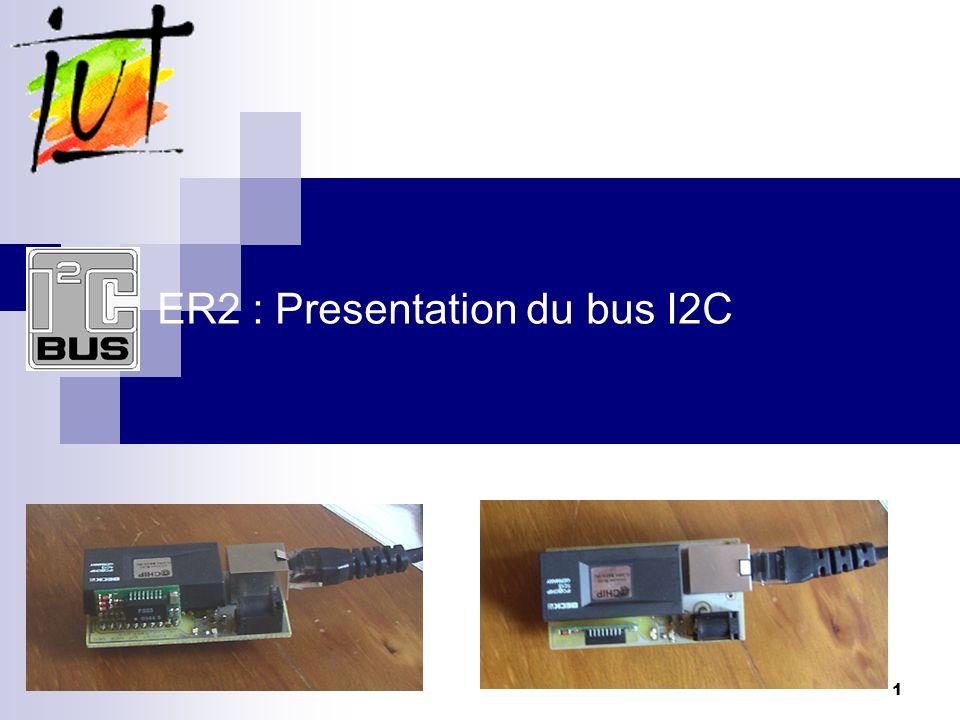 12 Le bus I2C Philips: protocole I2C Format des trames évoluées: changement de direction en cours de trame Pour certains périphériques évolués (mémoires EEPROM) il peut être nécessaire dabord de dire à lesclave quelle case mémoire on veut lire (envoie de ladresse de la case à lire).