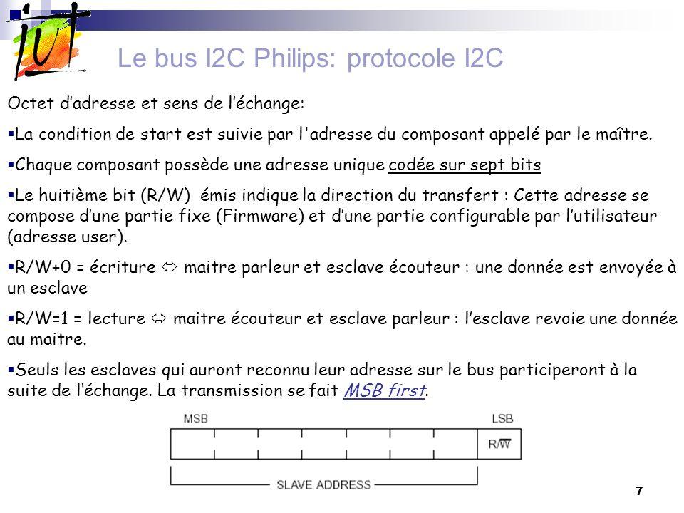 8 Le bus I2C Philips: protocole I2C Octet dadresse et sens de léchange: En général chaque boîtier possède 3 broches A2, A1 et A0 de sélection de l adresse basse.