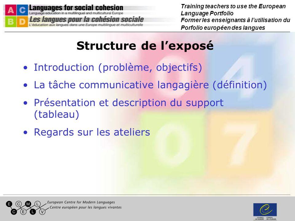 Training teachers to use the European Language Portfolio Former les enseignants à lutilisation du Porfolio européen des langues