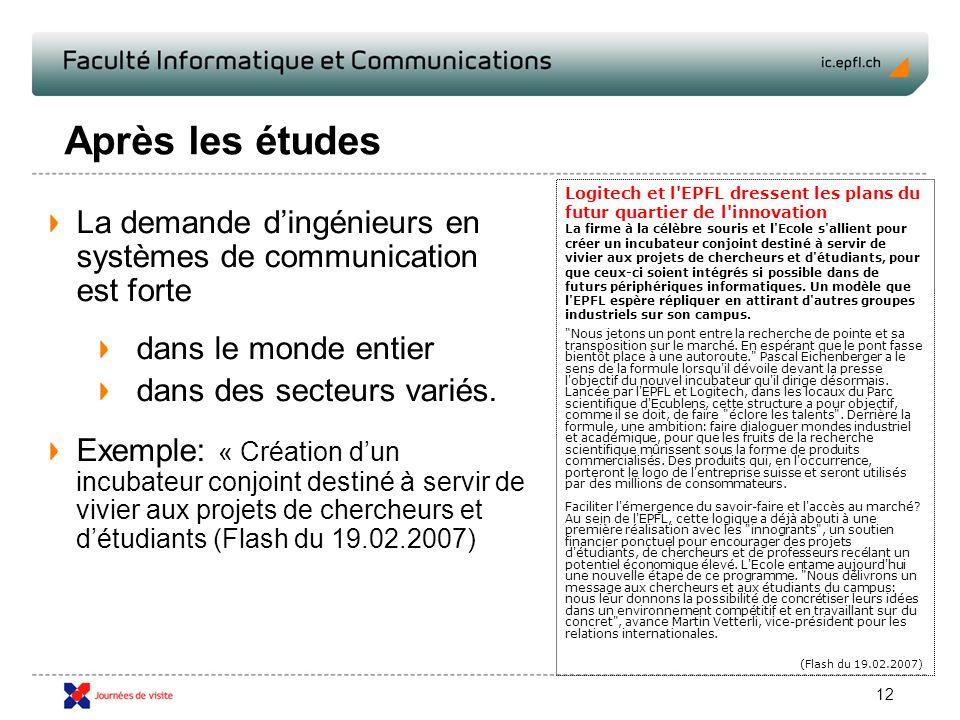 12 Après les études La demande dingénieurs en systèmes de communication est forte dans le monde entier dans des secteurs variés.