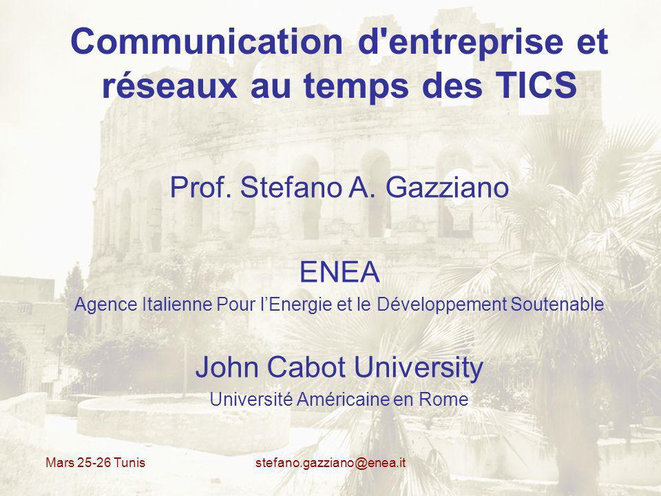 Mars 25-26 Tunis stefano.gazziano@enea.it Communication d entreprise et réseaux au temps des TICS MARS 25 9.30 – 11.15 Open Source et Web 2.0 – la base technologique nouvelle 11.30 - 13.15 Web 2.0 – Que Cest le signifié pour les entreprises 14.30 – 15.30 Applications Entreprise 15.45 – 17.00 E-tourisme et Debat MARS 26 8.30 – 11 Cloud computing, cooperative computing, e-learning 11.15 - 13.15 Internet, intranet, extranet au temps de NTIC 14.30 - 15.30 Google docs 15.45 – 17 3D Internet, monde virtual, internet du futur