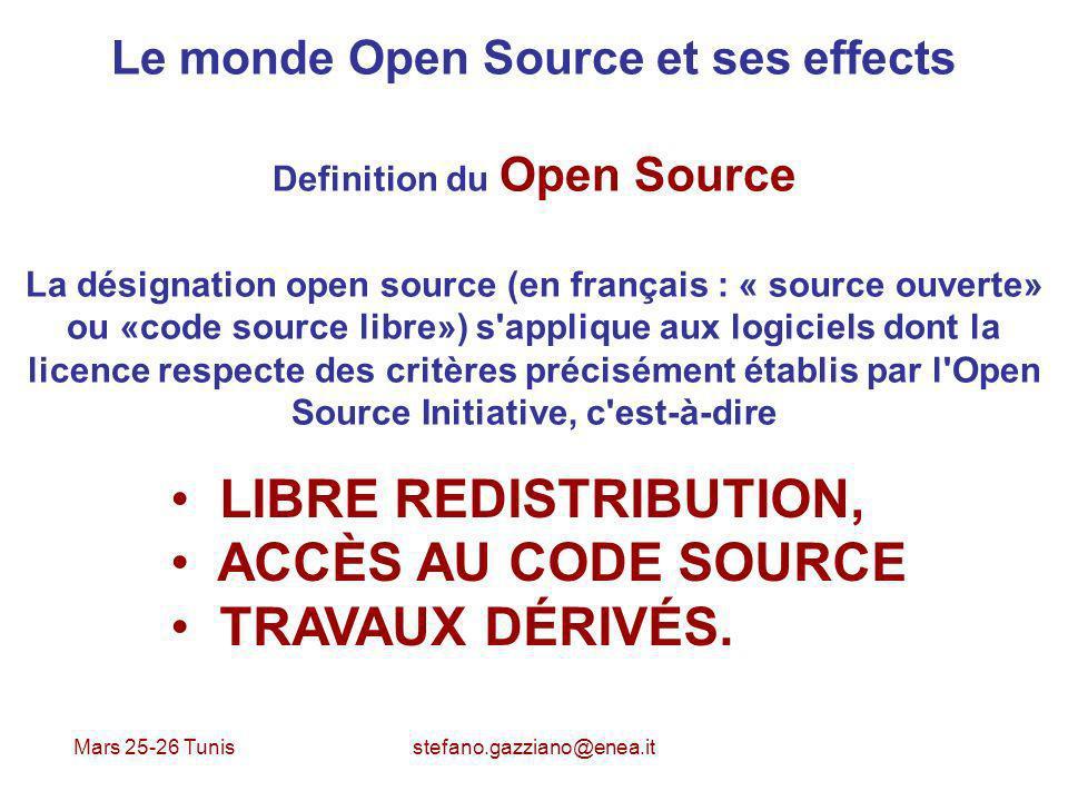 Mars 25-26 Tunis stefano.gazziano@enea.it Le monde Open Source et ses effects Definition du Open Source La désignation open source (en français : « so
