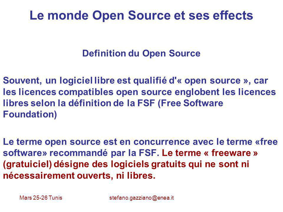 Mars 25-26 Tunis stefano.gazziano@enea.it Le monde Open Source et ses effects Definition du Open Source Souvent, un logiciel libre est qualifié d'« op