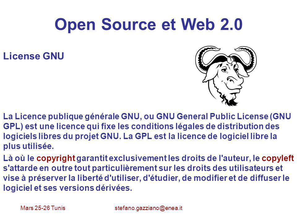 Mars 25-26 Tunis stefano.gazziano@enea.it Open Source et Web 2.0 License GNU La Licence publique générale GNU, ou GNU General Public License (GNU GPL)