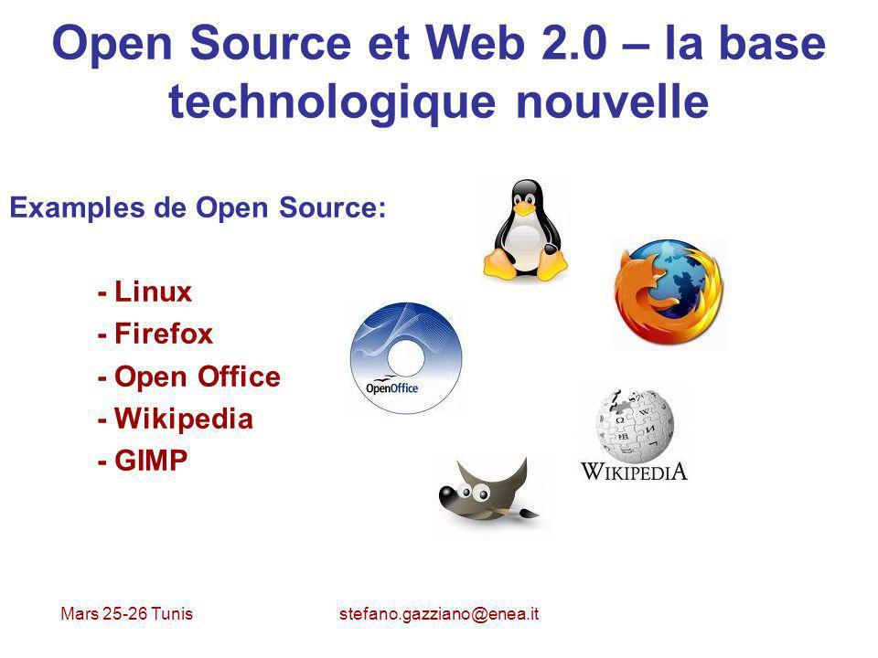 Mars 25-26 Tunis stefano.gazziano@enea.it Open Source et Web 2.0 – la base technologique nouvelle Examples de Open Source: - Linux - Firefox - Open Of