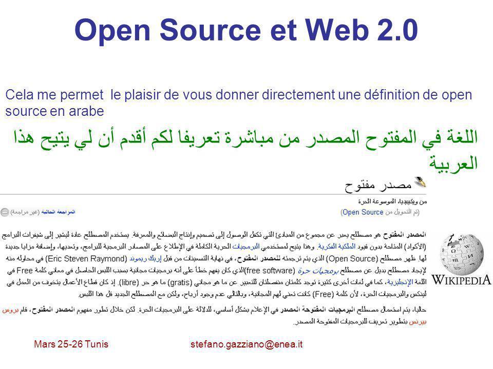 Mars 25-26 Tunis stefano.gazziano@enea.it Open Source et Web 2.0 Cela me permet le plaisir de vous donner directement une définition de open source en