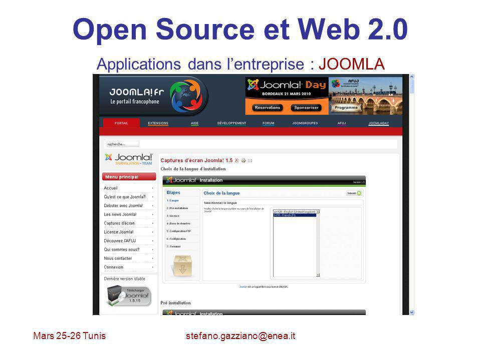 Mars 25-26 Tunis stefano.gazziano@enea.it Open Source et Web 2.0 Applications dans lentreprise : JOOMLA