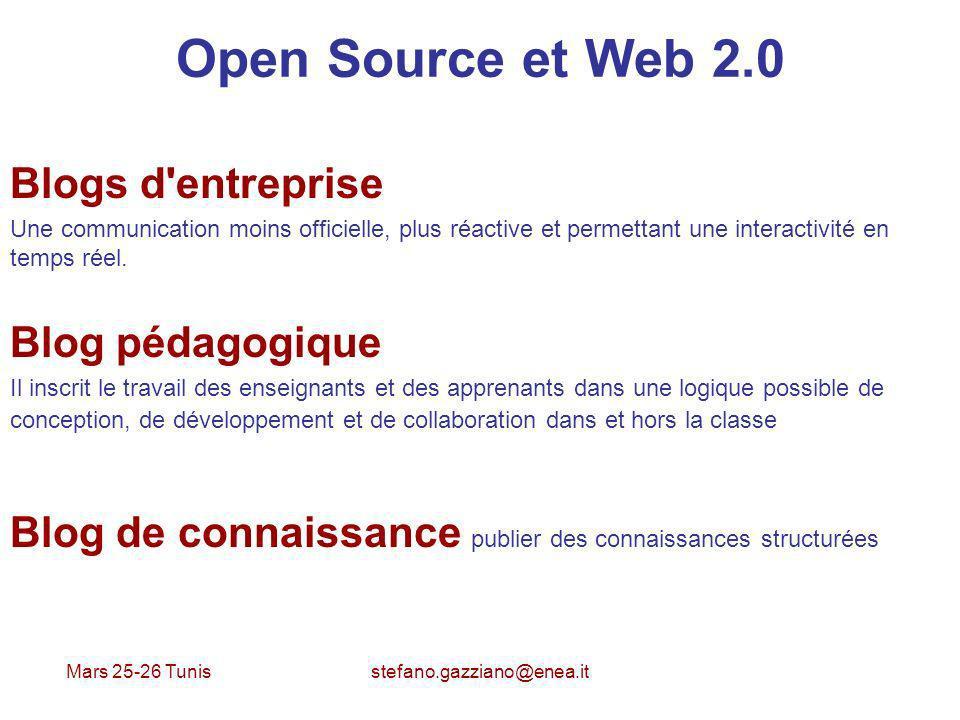 Mars 25-26 Tunis stefano.gazziano@enea.it Open Source et Web 2.0 Blogs d'entreprise Une communication moins officielle, plus réactive et permettant un