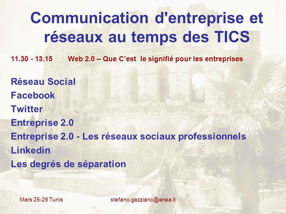 Mars 25-26 Tunis stefano.gazziano@enea.it Communication d'entreprise et réseaux au temps des TICS 11.30 - 13.15 Web 2.0 – Que Cest le signifié pour le