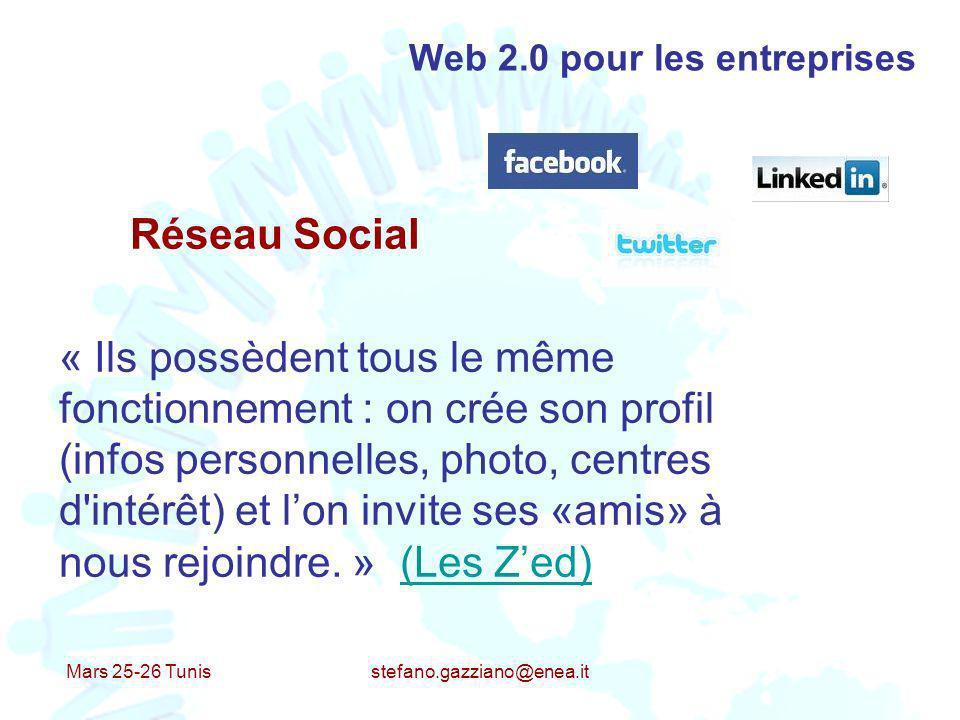 Mars 25-26 Tunis stefano.gazziano@enea.it Web 2.0 pour les entreprises Réseau Social « Ils possèdent tous le même fonctionnement : on crée son profil