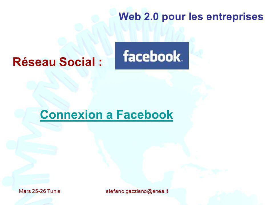 Mars 25-26 Tunis stefano.gazziano@enea.it Web 2.0 pour les entreprises Réseau Social : Connexion a Facebook