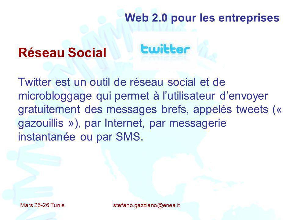 Mars 25-26 Tunis stefano.gazziano@enea.it Web 2.0 pour les entreprises Réseau Social Twitter est un outil de réseau social et de microbloggage qui per